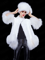 Rabbit fur coat with Beach wool fur trming medium-long mantle type stand collar fur outerwear 2014 female