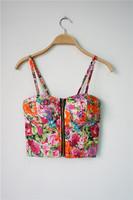 2014 summer flower  printing Bra wrapped chest vest Tops