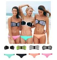 2014 New Triangl Sexy Women Padded Push Up Bra Zipper Swimsuit Swimwear Bathing Suit Bikini Set Sports Beach