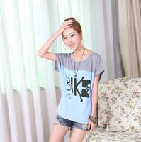 2014 summer women dress shirt bat loose shirt printing tide t-shirts S, M, L, XL, XXL ,free shipping