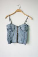 2014 new European style Denim Bra wrapped chest summer vest