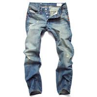 2014 Vintage Ripped hole Man washed jeans Pants disel brand designer men jeans denim pants trousers