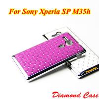 M35h Aluminum Shinny Chrome Case Diamond Hard Case Back Cover For Sony Xperia SP M35h C530x C5302 C5303 Mobile Phone Cases