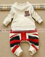 2014 autumn new Free shipping 5sets/lot 100% cotton children boys long sleeve t-shirts+harm pants 2pcs clothing set in stock