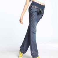 Hot sell2014 fashion slim washed wide leg pants women summer autumn casual cotton bow elastic waist women trousers denim jeans