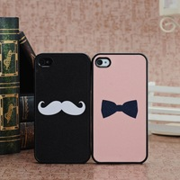 Bling Bling Bowknot and Mustache Design Color Pattern Hard Case Cover for iPhone 4 4s