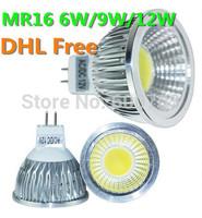 DHL FREE high power cree MR16 12V 6w 9w 12w led cob spotlight lamp bulb warm pure white GU5.3 220V