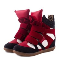 2014 New Velcro Women's Sneakers Casual Height Increasing Wedges Women boots Isabel Marant Sneaker for Women flats Size EU 35~39