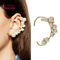 2014 gift fashion simulated pearl elegant gold alloy rhinestone non-pierced cuff earrings for women boucles bijoux wholesale