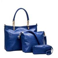 The New European Style Crocodile Pattern Picture Three-piece Portable Shoulder Bag Messenger Handbag Four Colours