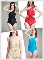 5 colors 2014 new vintage Sexy Bikini Set single One Shoulder Swimwear Swimsuit women monokini bathing suit M-XXL