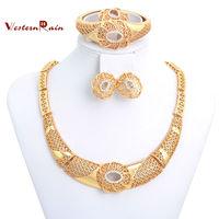 Westernrain China Wholesale 2014 Trendy Wedding Bridesmaid Female Accessories,High Quality Dubai 18K Gold Plating Jewelry Set