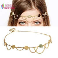 2014 christmas gift fashion gold plated coin tassel headbands women hair accessories jewelry bandeaux bandas bijoux wholesale