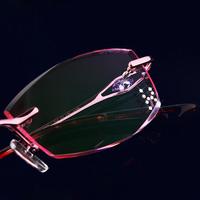 2014 Real Oculos De Grau Femininos Glasses Finished Product Myopia Frame Diamond Rimless Eyeglasses Fashion Discoloration Women