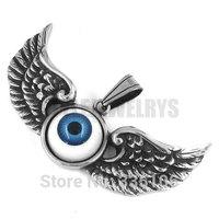 Free shipping! Eagle Wings Blue Devil Eye Pendant Stainless Steel Jewelry Punk Motor Biker Pendant SWP0247