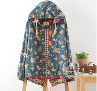 2014 autumn  rose flower  print  free shipping hooded vintage denim jacket  dropshipping