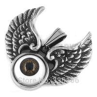 Free shipping! Eagle Wings Brown Devil Eye Pendant Stainless Steel Jewelry Punk Motor Biker Pendant SWP0248