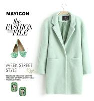 Sheinside Autumn Winter Women Casual Tops Outerwear 2014  Arrival Fashion Mint Green Lapel Double Pocket Longline Wool Coat Q139