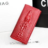 2014 New Desigual Genuine leather Women wallets 4 colors Crocodile 3d Wallets Fashion Purse Carteira feminina