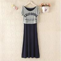 5ag Maternity faux two piece Dresses  plus size knit nursing short sleeve cotton dress pregnant clothes  pink /black /navy blue