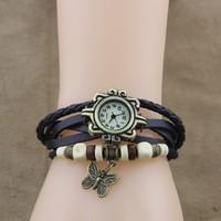 2014 New Arrival 7 Colors Quartz Women Dress Watchs Wrap Butterfly Pendant Synthetic Leather Bracelet Wrist Watch #7 19255