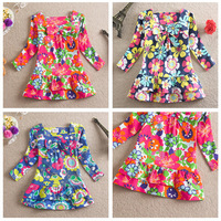Retail Kids 2014 new 100% cotton dress bow print baby girls long sleeve Floral children Casual clothing kids wear flower clothes