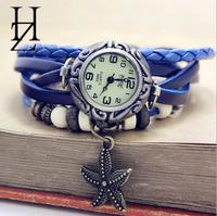 6 colors vintage leather bracelet starfish watches for women dress watches quartz watches 1pcs/lot
