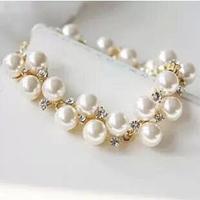 fashion hot sale Korea vintage gold plated pearl bride link bracelet