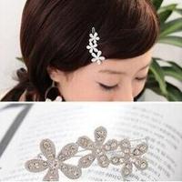 fashion cute silver rhinestone flower clip hairpin hair jewelry for women
