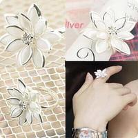 fashion cute snowdrop women's fresh flowers adjustable finger rings wholesale