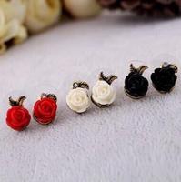 fashion vintage asymmetrical rose stud earrings for women