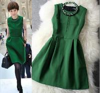 2014 New Desigual Sleeveless Brand Autumn Women Dress Wool Beaded Dress Temperament Elegant Slim Celebrity Dresses With Necklace