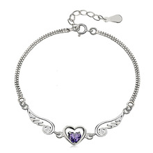2014 New Fashion Jewelry Genuine 925 Sterling Silver AAA Grade Purple White Crystal Amgel Wings Chain & Link Bracelet For Women