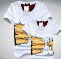 2014 Men Clothes Big Hand 3d t shirt visual creative personality spoof grab your cotton T-shirt shirt F99