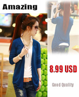 2014 New Fashion Women Knitwear Sweatshirt Cardigans Solid Sweet Candy Color Blouse Long-sleeve Womens Sweater Cardigan