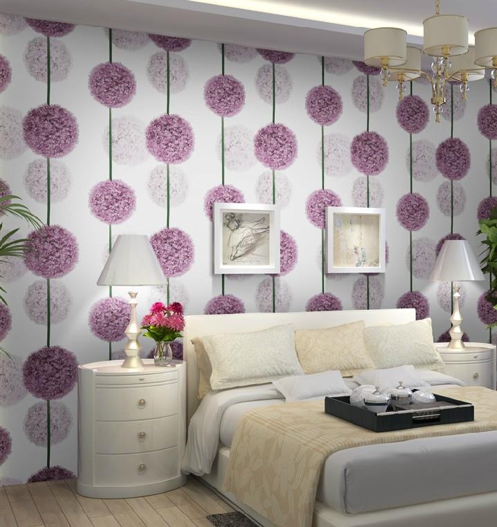 Modern Stylish Living Room Flowers Buy Purple Flower 3D Wallpaper Modern PVC Waterproof Wallpap