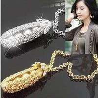 fashion Korea full rhinestone gorgeous princess's pea pearl long necklace