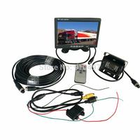 "12V Waterproof CCD Reverse Parking Camera 4Pin+ 7"" LCD Monitor Caravan Rear View Kit Free 10m cable"