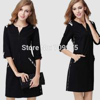 2014  wholesale slim  one piece dress  sleeve  hot sale women black fashion dress free shipping