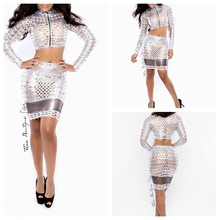 Gold and Silver Exclusive 2 piece bandage Dress Cut Out Hot Sexy Club Dress Queen Party Hollow Out Novelty Bodycon Elegant Dress(China (Mainland))