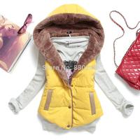 2014 Autumn women's clothing Winter Plus Size Slim Plus Velvet Vest Thermal Down Cotton With A Hood Vest Female  Free Shipping