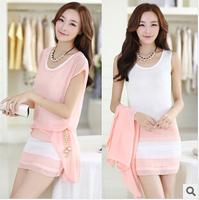 2014 new Summer Chiffon Two-piece dress women women work wear Slim Pink Casual batwing sleeve office dress vestido de festa