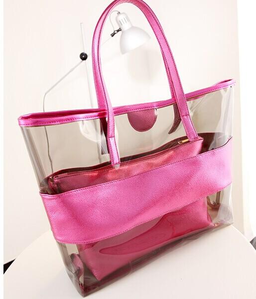 2pcs lot big and small hand bag set 2015 summer new fashion fresh classic crystal clear shoulder bag beach beauty handbag(China (Mainland))