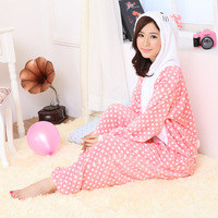 Wire top cotton flannel powder hellokitty cartoon one piece sleepwear
