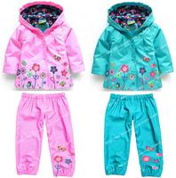Hot retail ! 2014 new children wind rain suits, fashion raincoats (hoodie + pants), children's clothes, girls clothing sets.