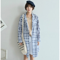 2014 New arrival autumn british style plaid print trench loose thin long-sleeve outerwear fashion design long trench coat