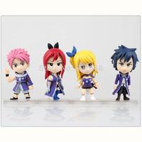 Anime Cartoon Fairy Tail Natsu Lucy Elza Gray PVC Action Figure Collection Model Toys Dolls 4pcs/set