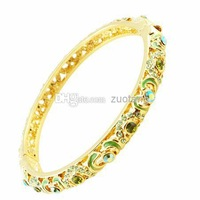 Wholesale - Fashion Gift For Girls 18k Gold Plated Austrian Crystal Rhinestone Love Heart Bracelet Chinese Cloisonne Enamel Bran