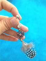 Eye-catching Body Piercing Jewelry Crystal Gem Feather Dream Catcher Navel Dangle Belly Button Bar Rings Body Art Free Shipping