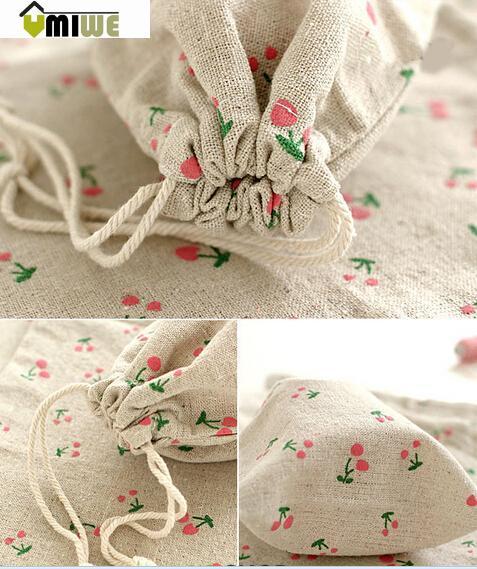 Umiwe Cute Cherry Pattern Cotton Linen Zakka Drawstring Storage Bag Gift Bag,Small(China (Mainland))